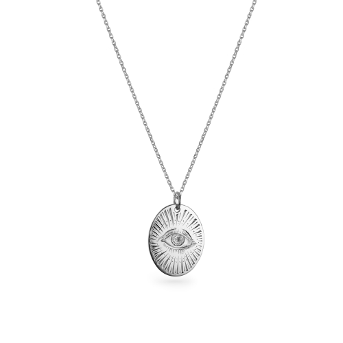 """9ct White Gold Large Oval Pendant - 16"""" Trace Chain"""