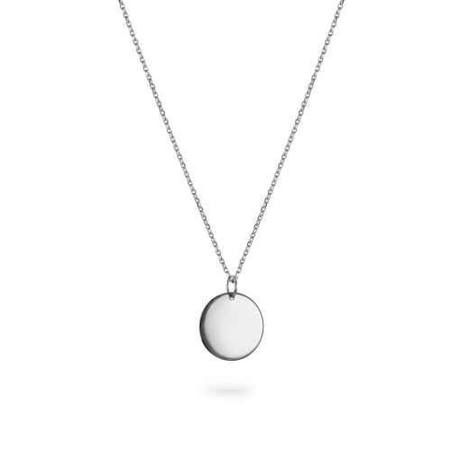 """18ct White Gold Large Round Pendant - 16"""" Trace Chain"""