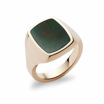 Stone Set Cushion Signet Ring | Bloodstone | 18ct Yellow Gold