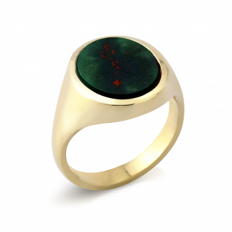 Stone Set Oval Signet Ring | Bloodstone | 18ct Yellow Gold