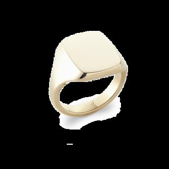 14ct Yellow Gold Cushion Signet Ring