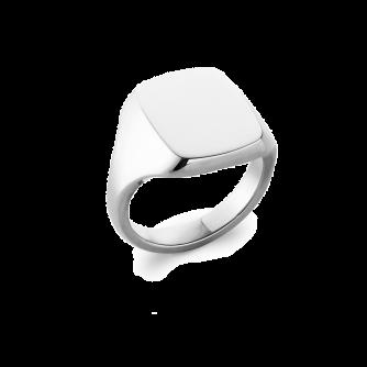 14ct White Gold Cushion Signet Ring