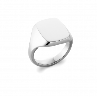 18ct White Gold Cushion Signet Ring