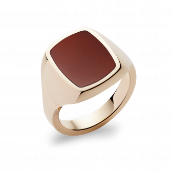 Stone Set Cushion Signet Ring | Cornelian | 14ct Yellow Gold