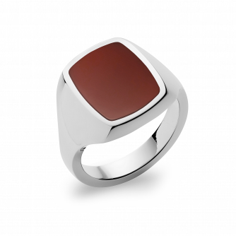Stone Set Cushion Signet Ring | Cornelian | Platinum
