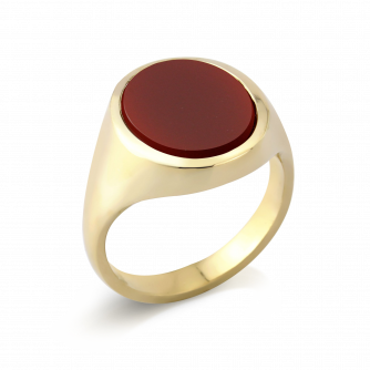 Stone Set Oval Signet Ring | Cornelian | 14ct Yellow Gold