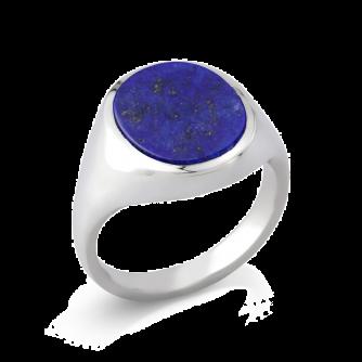 Stone Set Oval Signet Ring | Lapis Lazuli | Platinum