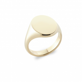 18ct Yellow Gold Signet Ring, Oxford Oval