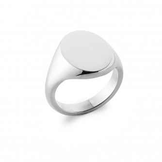 18ct White Gold Signet Ring, Oxford Oval | Extra Heavy Weight