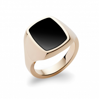 Stone Set Cushion Signet Ring | Onyx | 14ct Yellow Gold