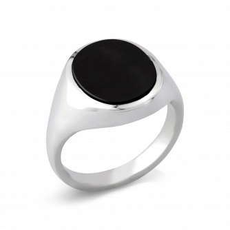 Stone Set Oval Signet Ring | Onyx | Platinum