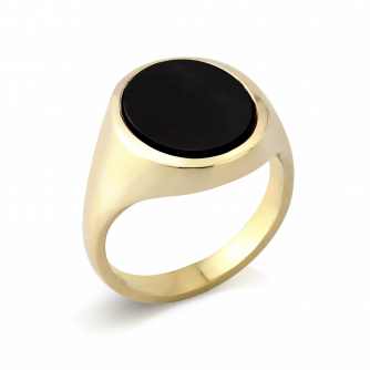 Stone Set Oval Signet Ring | Onyx | 9ct Yellow Gold