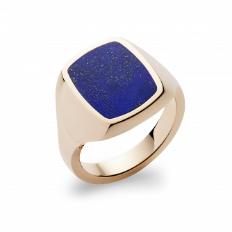 Stone Set Cushion Signet Ring | Lapis Lazuli | 9ct Yellow Gold