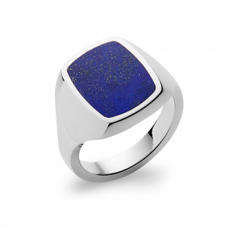Stone Set Cushion Signet Ring | Lapis Lazuli | Platinum