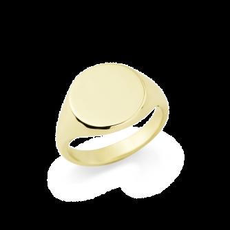14ct Yellow Gold Signet Ring , Round