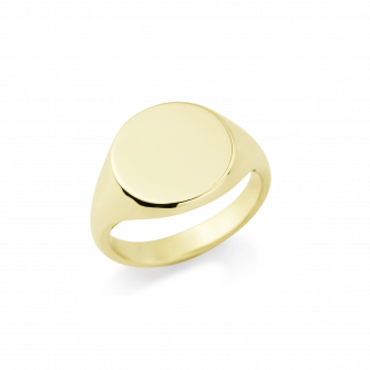 18ct Yellow Gold Signet Ring , Round