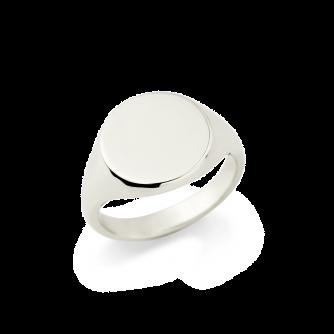 9ct White Gold Signet Ring, Round
