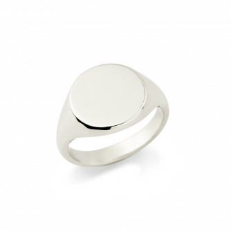18ct White Gold Signet Ring, Round