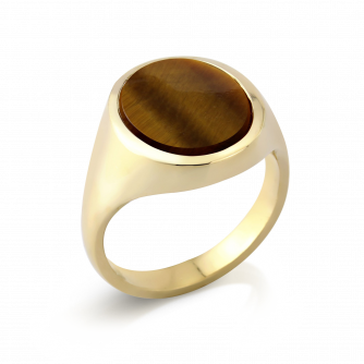 Stone Set Oval Signet Ring | Tigers Eye | 14ct Yellow Gold