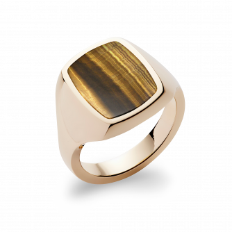 Stone Set Cushion Signet Ring | Tigers Eye | 9ct Yellow Gold
