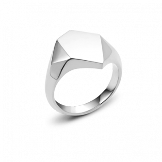 9ct White Gold Kournas 1 Small Signet ring