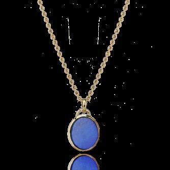9ct Yellow Gold Lapis Lazuli Oval Pendant