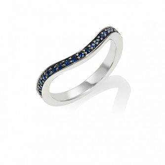 Blue Sapphire Keeper Eternity Ring, 18ct White Gold