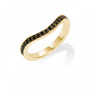 Black Diamond Keeper Eternity Ring, 18ct Yellow Gold