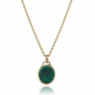 9ct Yellow Gold Malachite Oval Pendant