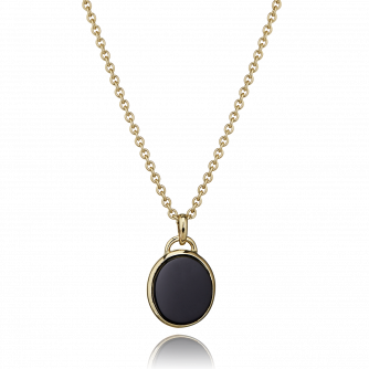 9ct Yellow Gold Black Onyx Oval Pendant