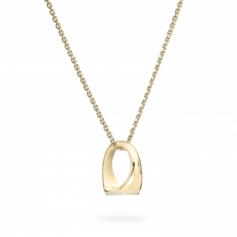 Diamond Set Yellow Gold Signet Pendant