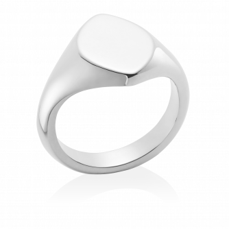 14ct White Gold Signet Ring, Marquise