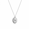 """18ct White Gold Large Oval Pendant - 22"""" Trace Chain"""