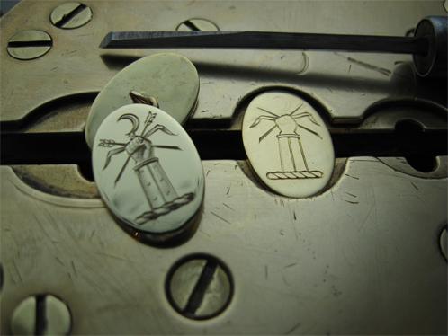 Hand engraving cufflinks