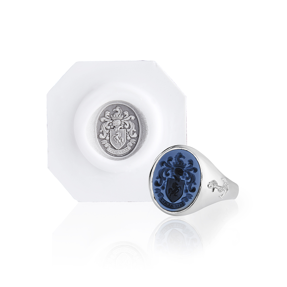 Black and Blue Sardonyx Signet Ring